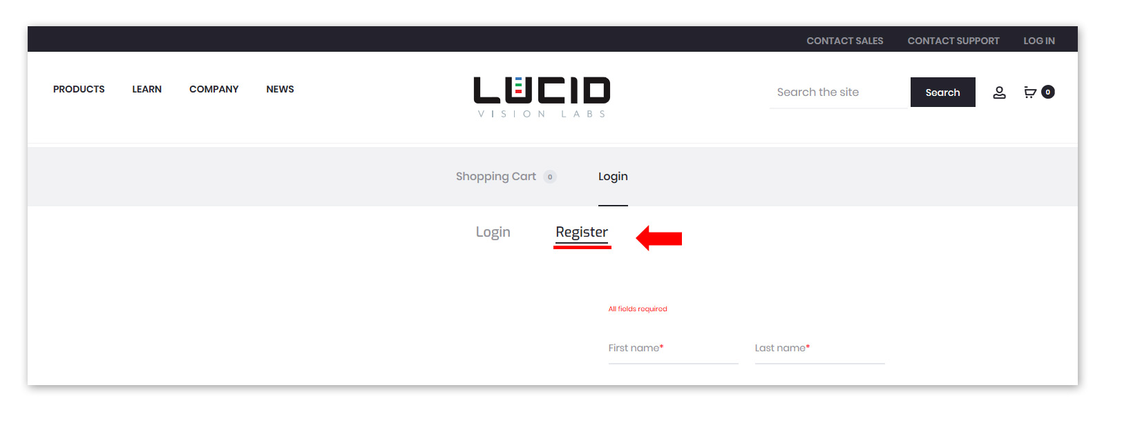 Lucid webstore instructions step 2