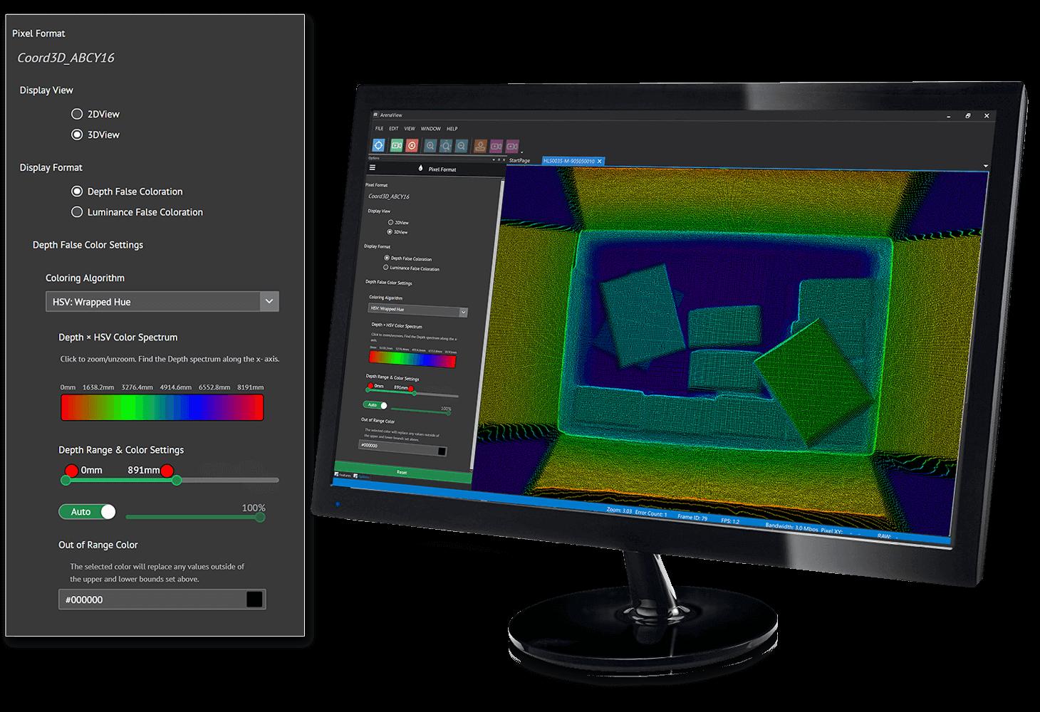Arena SDK 3D GUI controls for Helios ToF Camera