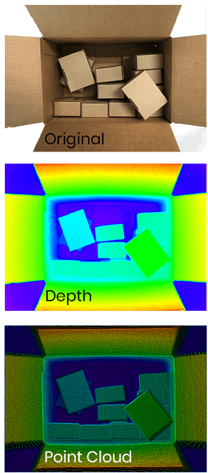 3D images of cardboard boxes- Depth Image